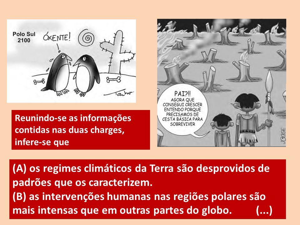 Reunindo-se as informações contidas nas duas charges, infere-se que (A) os regimes climáticos da Terra são desprovidos de padrões que os caracterizem.