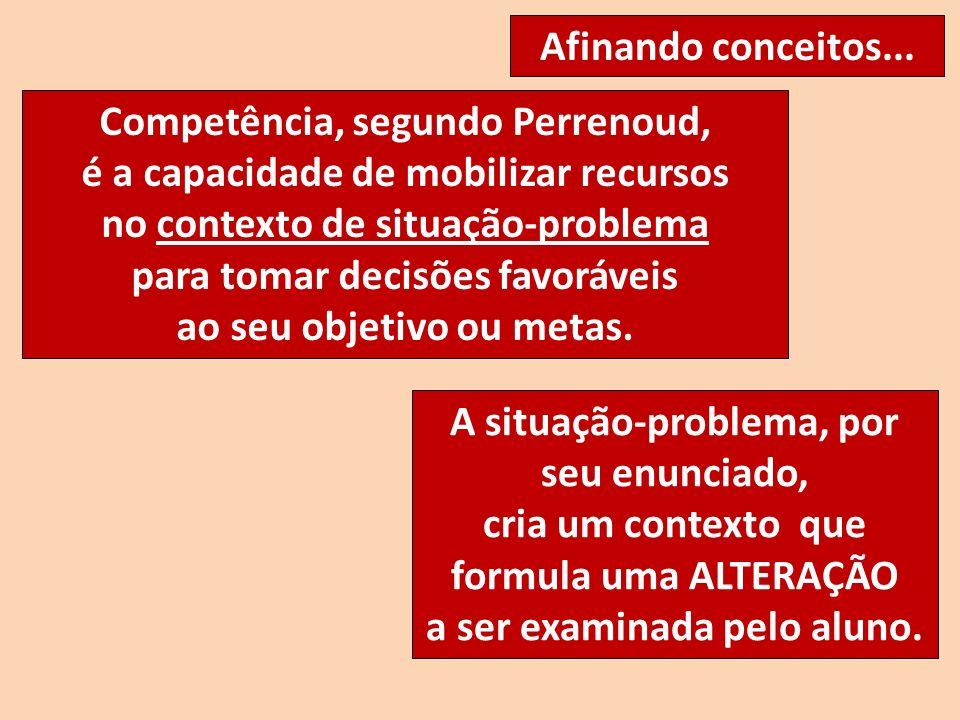 Competência, segundo Perrenoud, é a capacidade de mobilizar recursos no contexto de situação-problema para tomar decisões favoráveis ao seu objetivo o