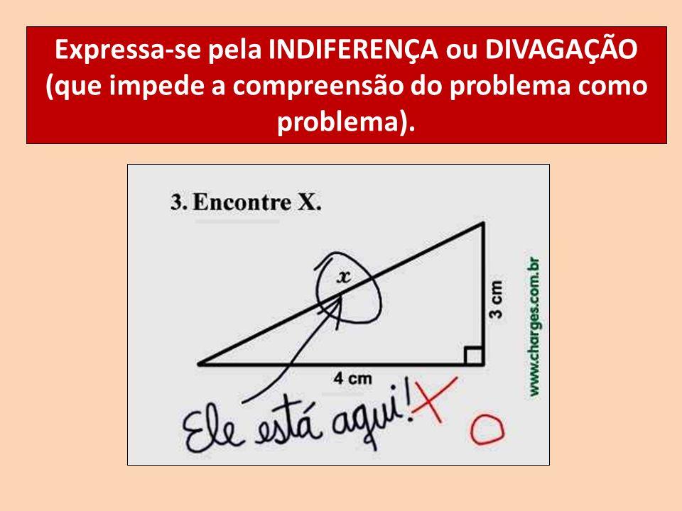 Expressa-se pela INDIFERENÇA ou DIVAGAÇÃO (que impede a compreensão do problema como problema).