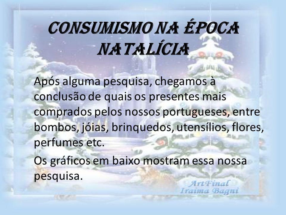 Consumismo na época Natalícia Após alguma pesquisa, chegamos à conclusão de quais os presentes mais comprados pelos nossos portugueses, entre bombos,