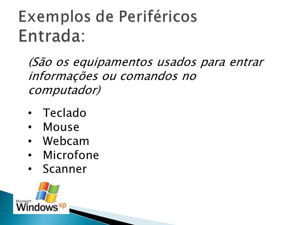 (São os equipamentos usados para entrar informações ou comandos no computador) Teclado Mouse Webcam Microfone Scanner