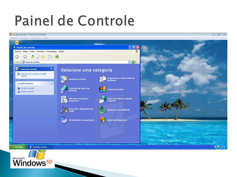 Inicialmente o painel de controle vem em modo de exibição por categoria