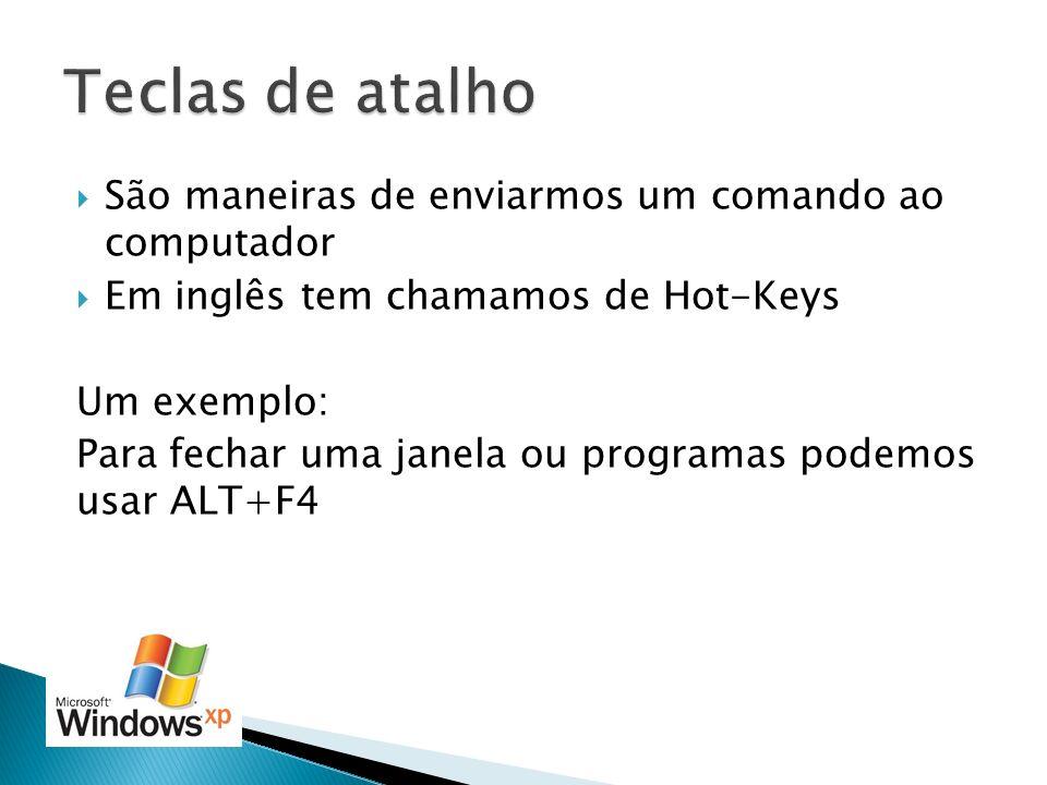 São maneiras de enviarmos um comando ao computador Em inglês tem chamamos de Hot-Keys Um exemplo: Para fechar uma janela ou programas podemos usar ALT