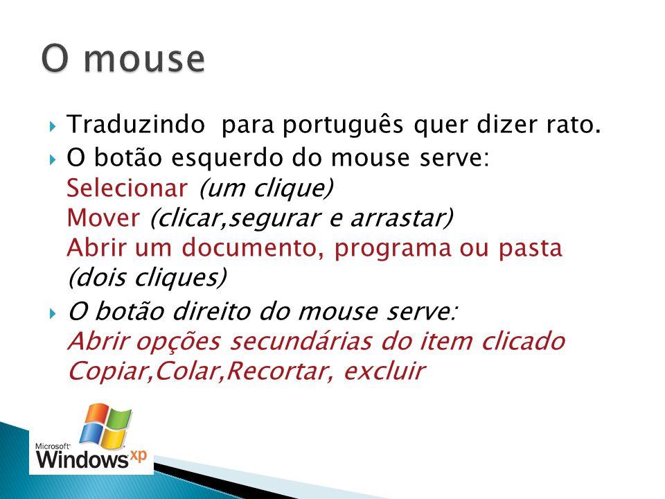 Traduzindo para português quer dizer rato. O botão esquerdo do mouse serve: Selecionar (um clique) Mover (clicar,segurar e arrastar) Abrir um document