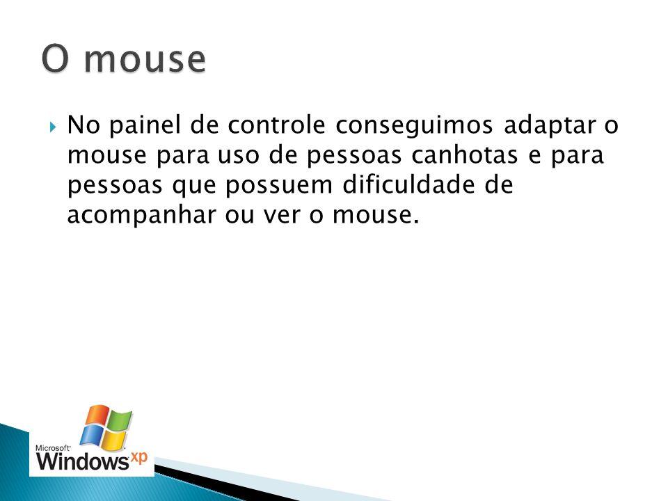 No painel de controle conseguimos adaptar o mouse para uso de pessoas canhotas e para pessoas que possuem dificuldade de acompanhar ou ver o mouse.