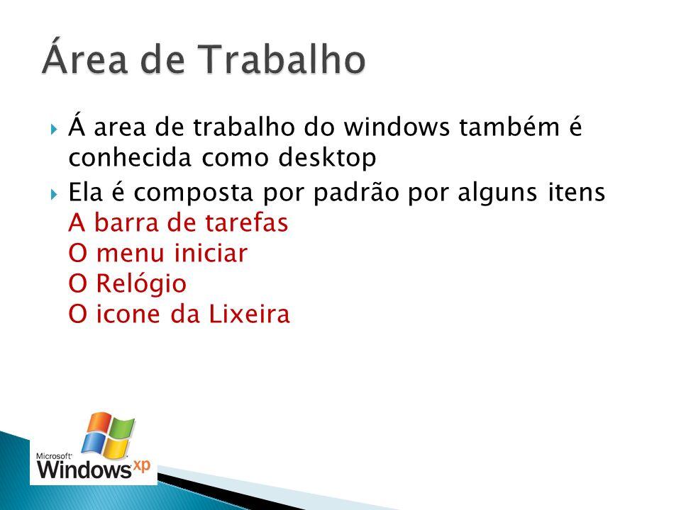 Á area de trabalho do windows também é conhecida como desktop Ela é composta por padrão por alguns itens A barra de tarefas O menu iniciar O Relógio O
