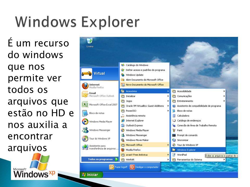 É um recurso do windows que nos permite ver todos os arquivos que estão no HD e nos auxilia a encontrar arquivos