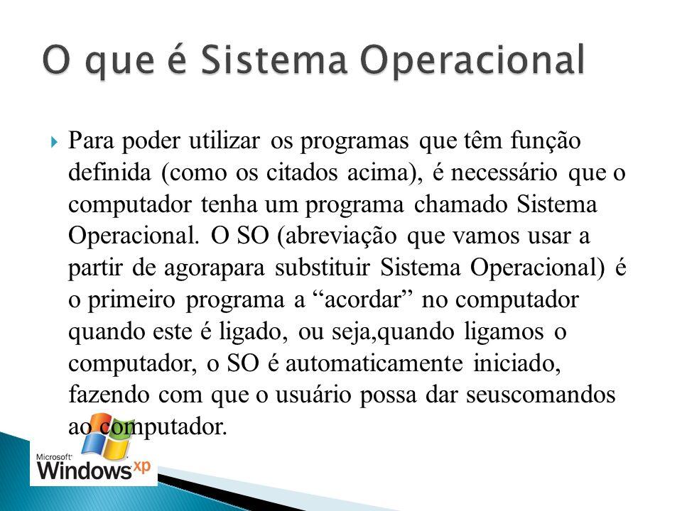 Para poder utilizar os programas que têm função definida (como os citados acima), é necessário que o computador tenha um programa chamado Sistema Oper