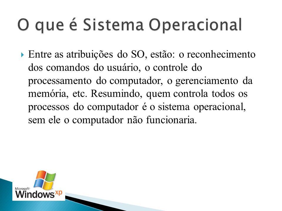 Entre as atribuições do SO, estão: o reconhecimento dos comandos do usuário, o controle do processamento do computador, o gerenciamento da memória, et
