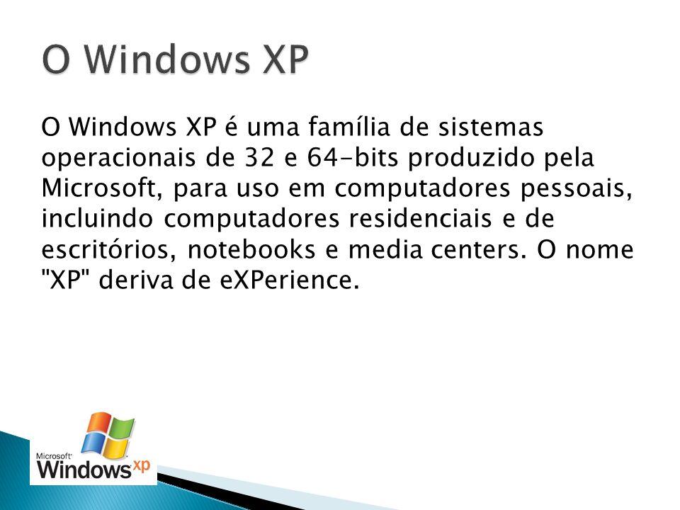 O Windows XP é uma família de sistemas operacionais de 32 e 64-bits produzido pela Microsoft, para uso em computadores pessoais, incluindo computadore