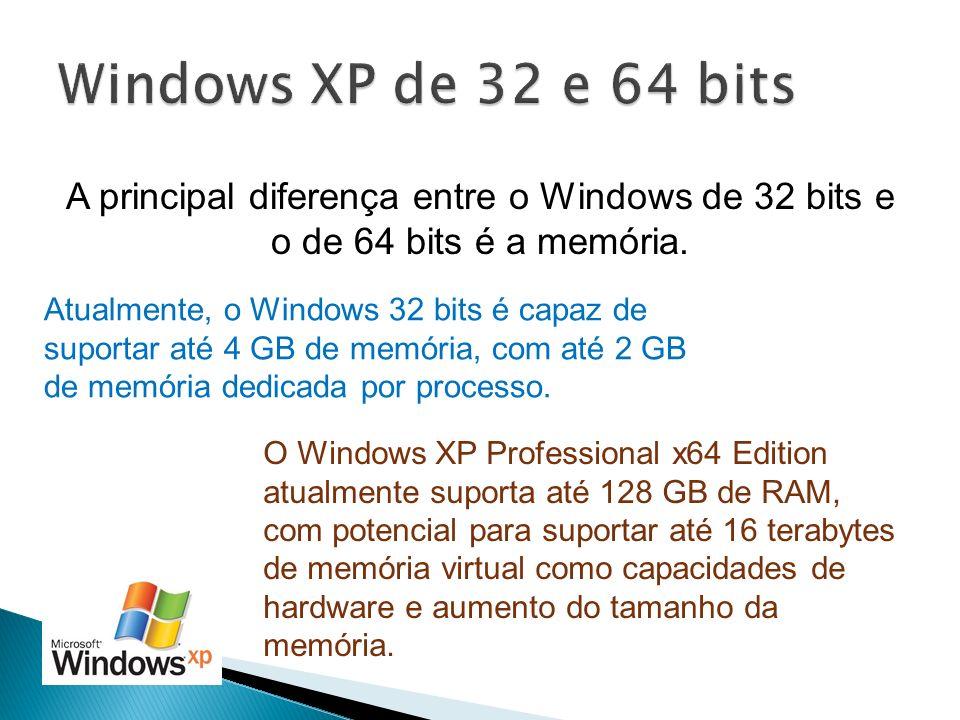 A principal diferença entre o Windows de 32 bits e o de 64 bits é a memória. Atualmente, o Windows 32 bits é capaz de suportar até 4 GB de memória, co