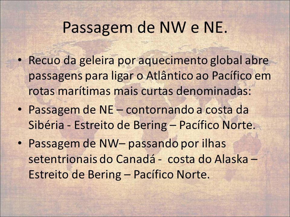 Passagem de NW e NE. Recuo da geleira por aquecimento global abre passagens para ligar o Atlântico ao Pacífico em rotas marítimas mais curtas denomina