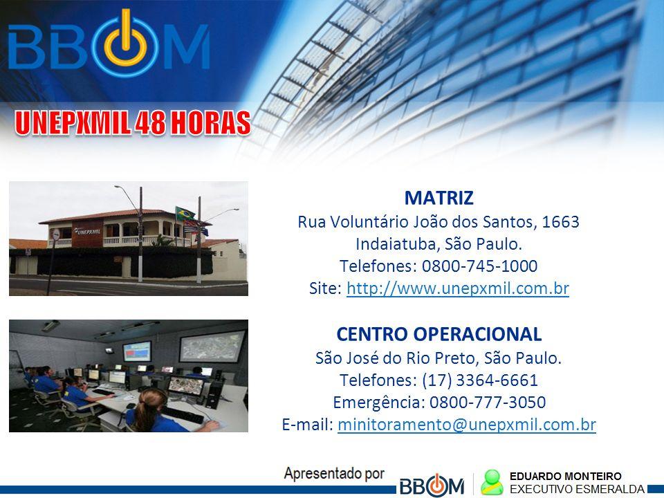 MATRIZ Rua Voluntário João dos Santos, 1663 Indaiatuba, São Paulo. Telefones: 0800-745-1000 Site: http://www.unepxmil.com.br CENTRO OPERACIONAL São Jo