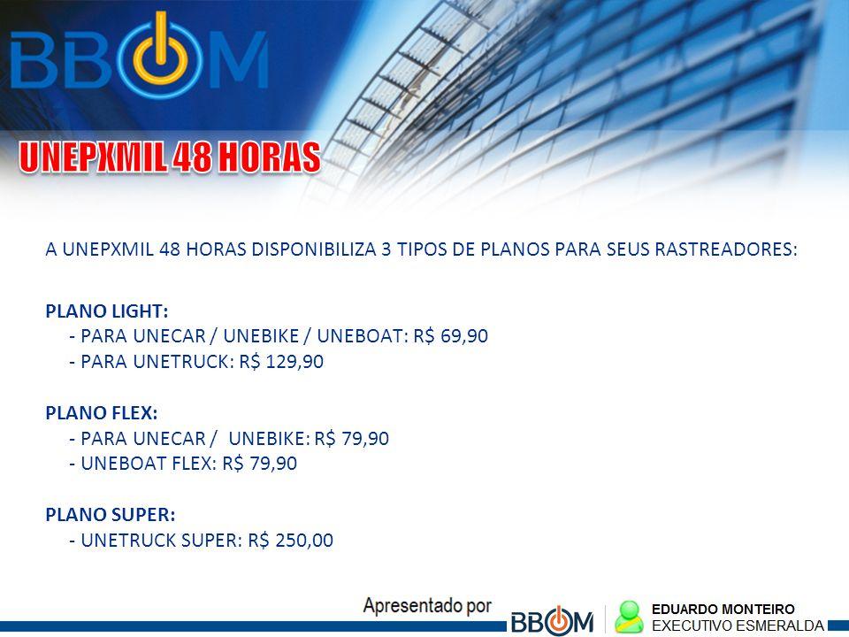 A UNEPXMIL 48 HORAS DISPONIBILIZA 3 TIPOS DE PLANOS PARA SEUS RASTREADORES: PLANO LIGHT: - PARA UNECAR / UNEBIKE / UNEBOAT: R$ 69,90 - PARA UNETRUCK: