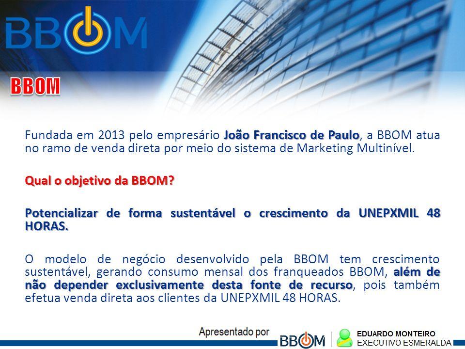 João Francisco de Paulo Fundada em 2013 pelo empresário João Francisco de Paulo, a BBOM atua no ramo de venda direta por meio do sistema de Marketing