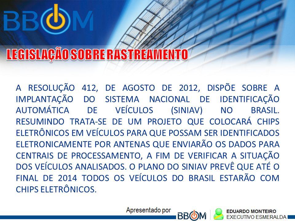 A RESOLUÇÃO 412, DE AGOSTO DE 2012, DISPÕE SOBRE A IMPLANTAÇÃO DO SISTEMA NACIONAL DE IDENTIFICAÇÃO AUTOMÁTICA DE VEÍCULOS (SINIAV) NO BRASIL. RESUMIN