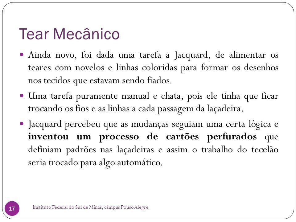 Tear Mecânico Instituto Federal do Sul de Minas, câmpus Pouso Alegre 17 Ainda novo, foi dada uma tarefa a Jacquard, de alimentar os teares com novelos
