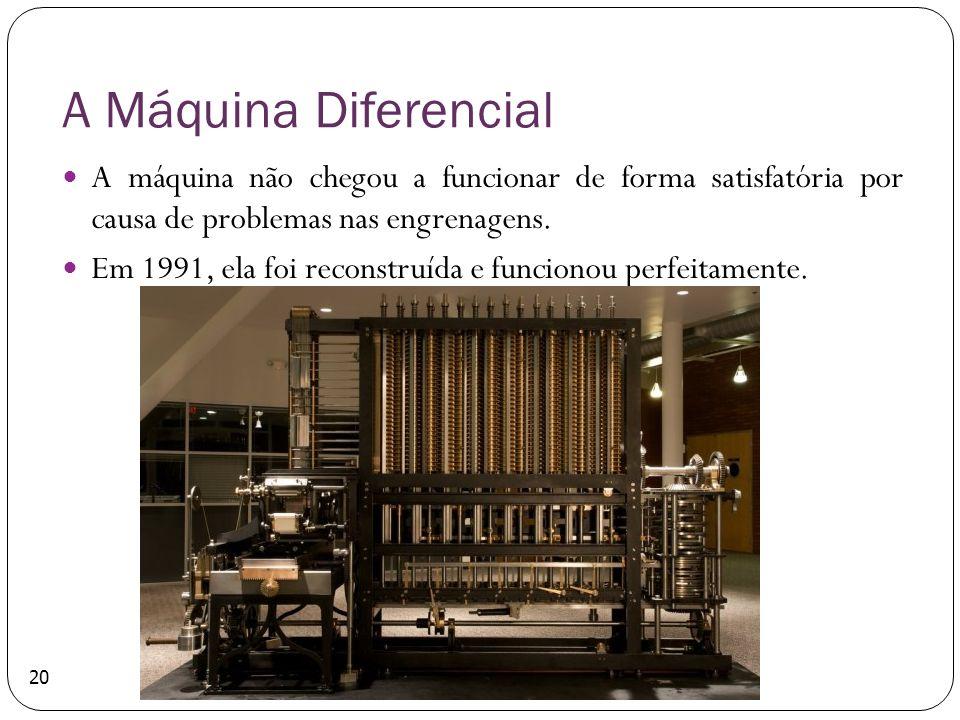 A Máquina Diferencial A máquina não chegou a funcionar de forma satisfatória por causa de problemas nas engrenagens. Em 1991, ela foi reconstruída e f