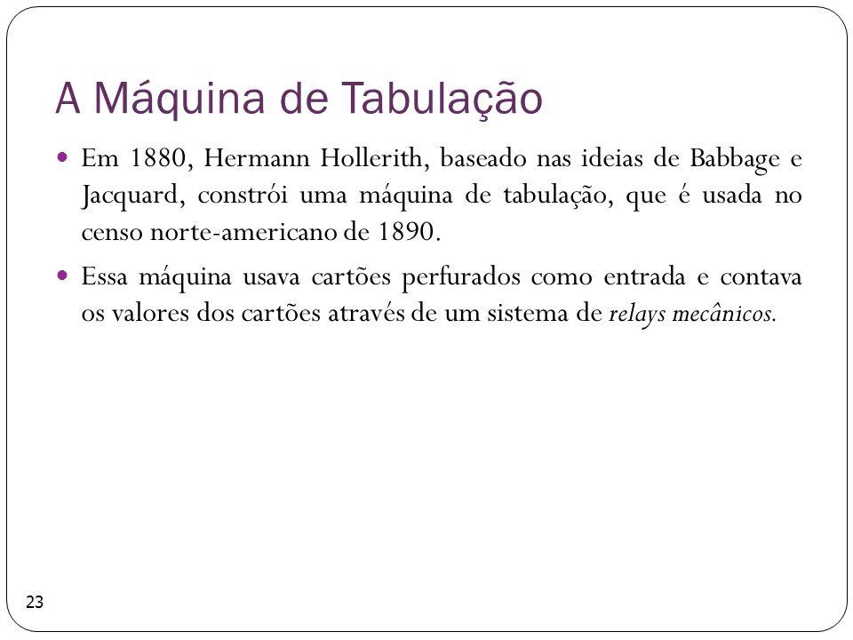A Máquina de Tabulação Em 1880, Hermann Hollerith, baseado nas ideias de Babbage e Jacquard, constrói uma máquina de tabulação, que é usada no censo n