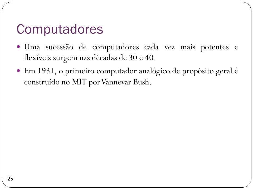Computadores Uma sucessão de computadores cada vez mais potentes e flexíveis surgem nas décadas de 30 e 40. Em 1931, o primeiro computador analógico d