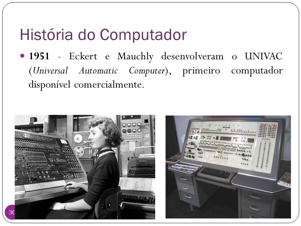 História do Computador Instituto Federal do Sul de Minas, câmpus Pouso Alegre 30 1951 - Eckert e Mauchly desenvolveram o UNIVAC (Universal Automatic C