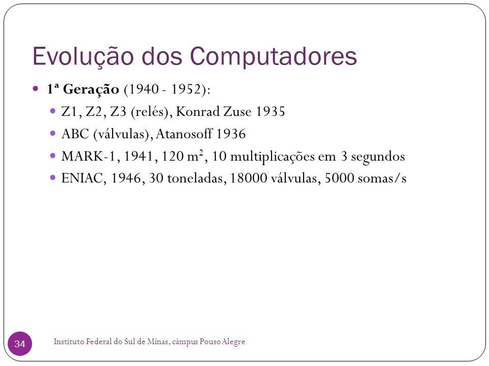 Evolução dos Computadores Instituto Federal do Sul de Minas, câmpus Pouso Alegre 34 1ª Geração (1940 - 1952): Z1, Z2, Z3 (relés), Konrad Zuse 1935 ABC
