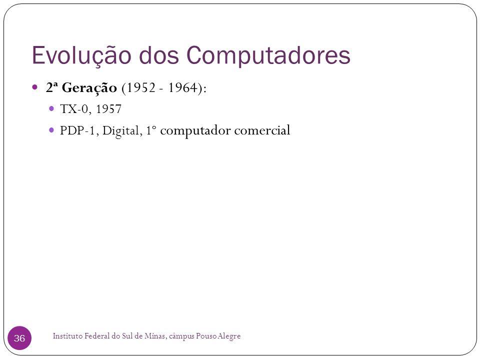 Evolução dos Computadores Instituto Federal do Sul de Minas, câmpus Pouso Alegre 36 2ª Geração (1952 - 1964): TX-0, 1957 PDP-1, Digital, 1º computador