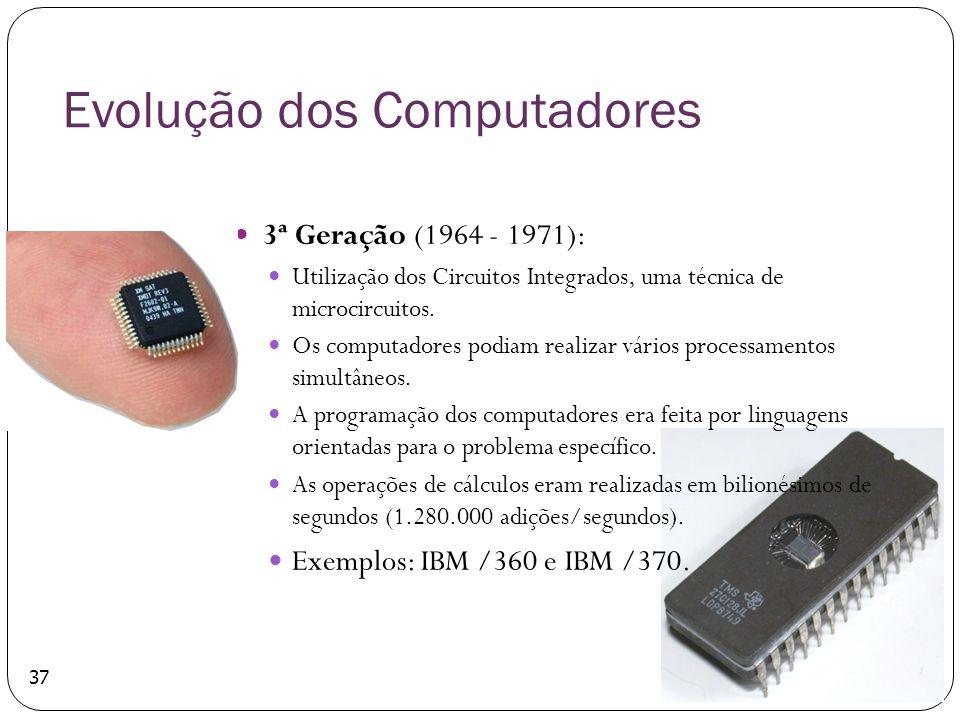 37 Evolução dos Computadores 3ª Geração (1964 - 1971): Utilização dos Circuitos Integrados, uma técnica de microcircuitos. Os computadores podiam real
