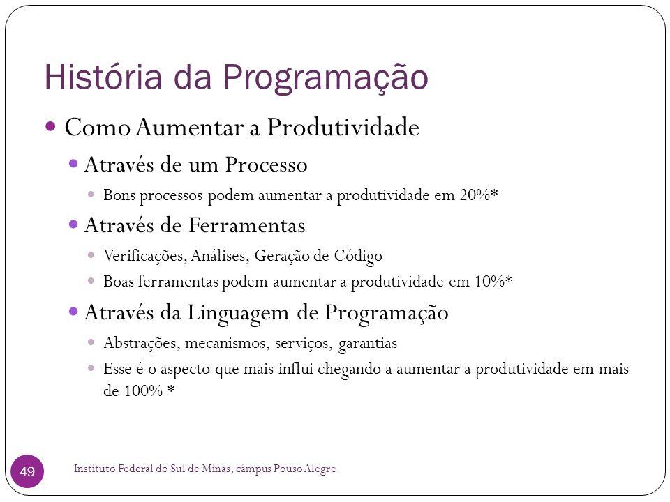 História da Programação Instituto Federal do Sul de Minas, câmpus Pouso Alegre 49 Como Aumentar a Produtividade Através de um Processo Bons processos