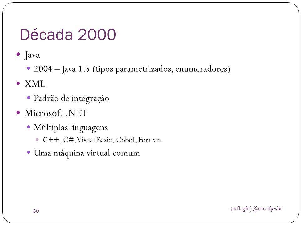{avfl, gfn}@cin.ufpe.br 60 Década 2000 Java 2004 – Java 1.5 (tipos parametrizados, enumeradores) XML Padrão de integração Microsoft.NET Múltiplas ling