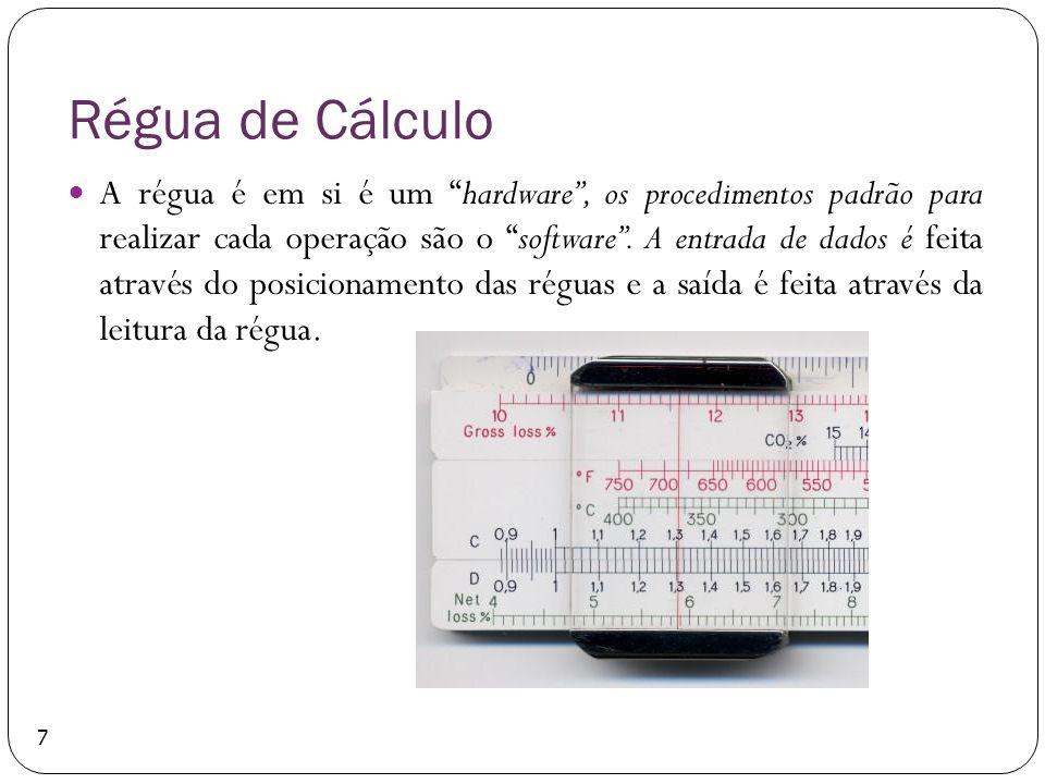 Régua de Cálculo A régua é em si é um hardware, os procedimentos padrão para realizar cada operação são o software. A entrada de dados é feita através