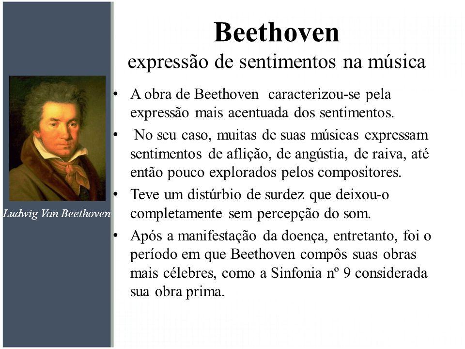 A obra de Beethoven caracterizou-se pela expressão mais acentuada dos sentimentos. No seu caso, muitas de suas músicas expressam sentimentos de afliçã