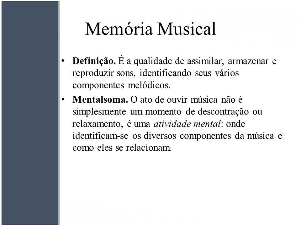 Memória Musical Definição. É a qualidade de assimilar, armazenar e reproduzir sons, identificando seus vários componentes melódicos. Mentalsoma. O ato