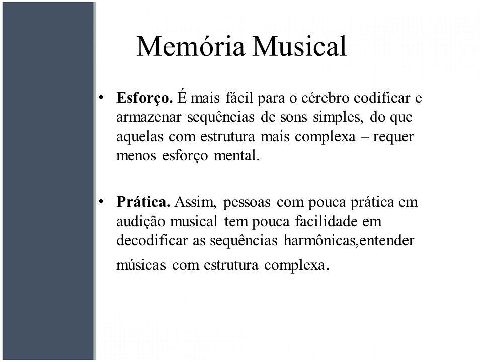 Memória Musical Esforço. É mais fácil para o cérebro codificar e armazenar sequências de sons simples, do que aquelas com estrutura mais complexa – re