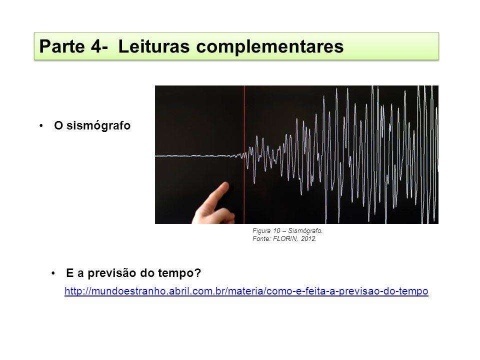 Parte 4- Leituras complementares O sismógrafo E a previsão do tempo? Figura 10 – Sismógrafo. Fonte: FLORIN, 2012. http://mundoestranho.abril.com.br/ma