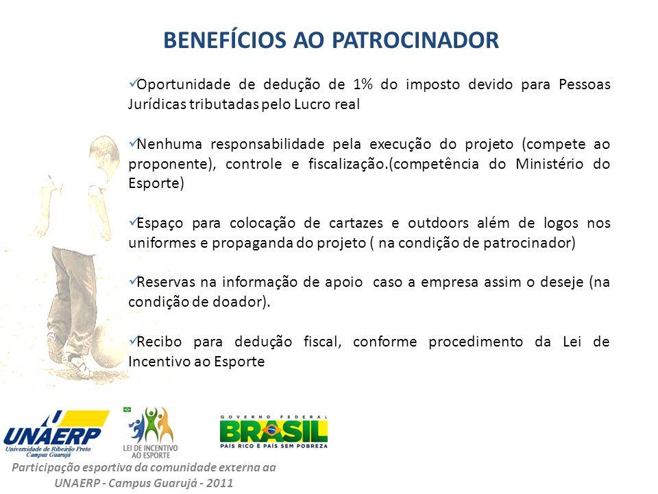 BENEFÍCIOS AO PATROCINADOR Participação esportiva da comunidade externa da UNAERP - Campus Guarujá - 2011 Oportunidade de dedução de 1% do imposto dev