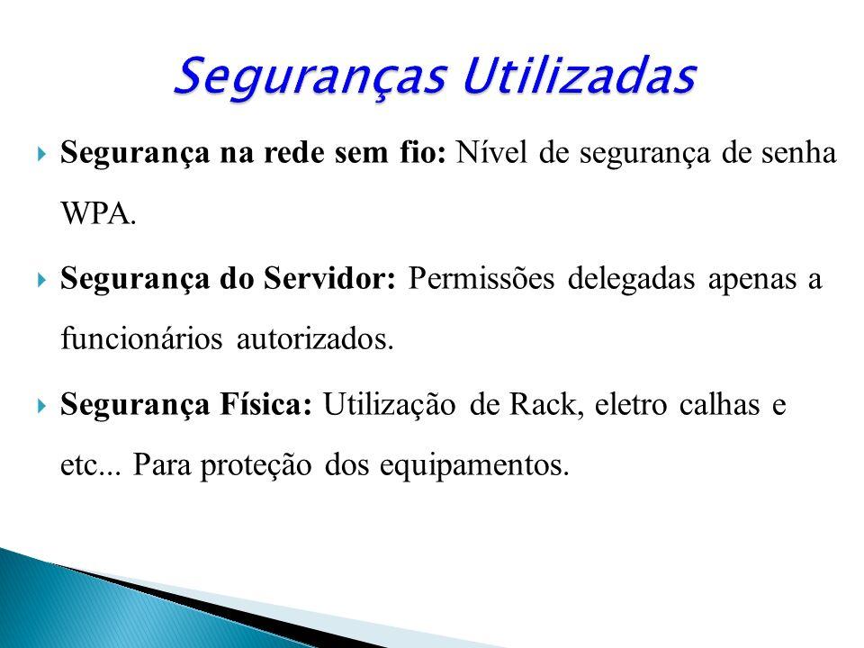 Segurança na rede sem fio: Nível de segurança de senha WPA. Segurança do Servidor: Permissões delegadas apenas a funcionários autorizados. Segurança F