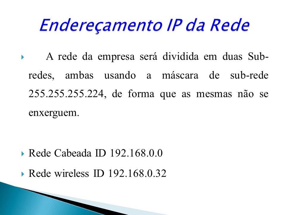 Na rede wireless utilizou-se o serviço de DHCP do Access Point que sorteará um range de 20 IPs para a determinada rede, a aleatoriedade destes endereços iniciara do IP 197.168.0.35/27 até o 192.168.0.54/27, sendo que o IP 0.33/27 esta determinado a segunda interface do roteador.