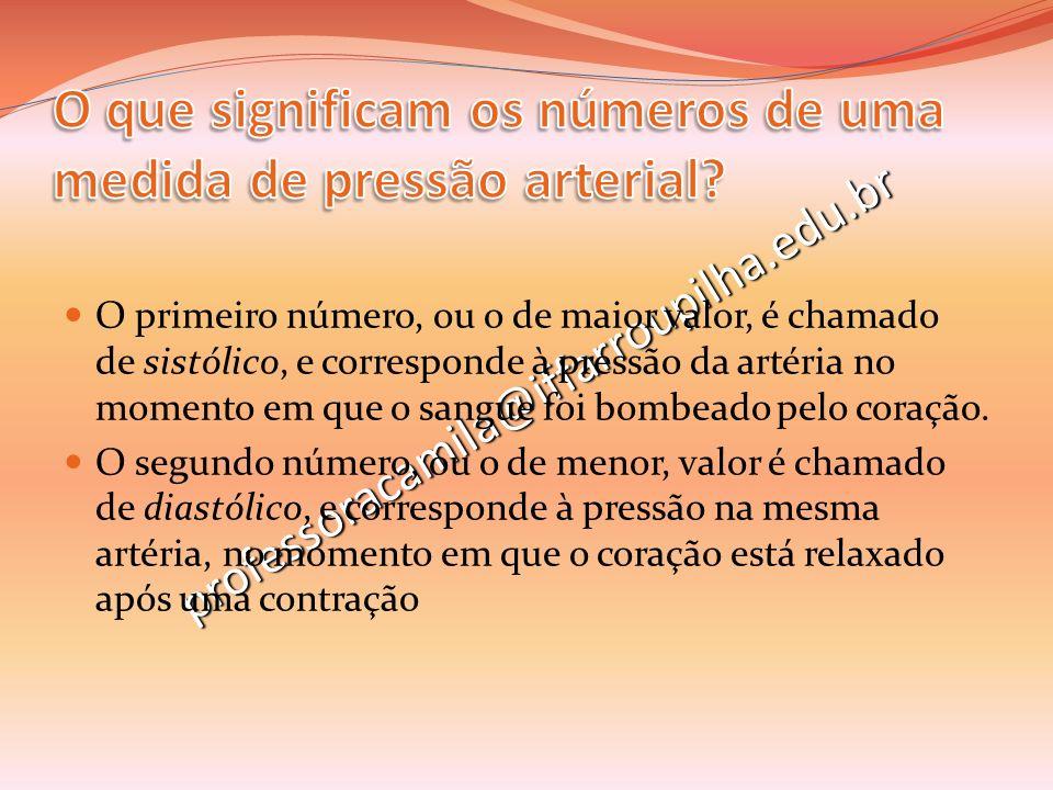 professoracamila@iffarroupilha.edu.br O primeiro número, ou o de maior valor, é chamado de sistólico, e corresponde à pressão da artéria no momento em
