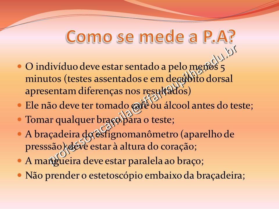 professoracamila@iffarroupilha.edu.br O indivíduo deve estar sentado a pelo menos 5 minutos (testes assentados e em decúbito dorsal apresentam diferen