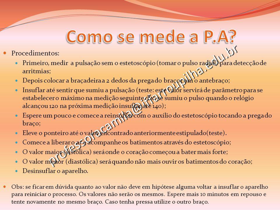 professoracamila@iffarroupilha.edu.br Procedimentos: Primeiro, medir a pulsação sem o estetoscópio (tomar o pulso radial) para detecção de arritmias;