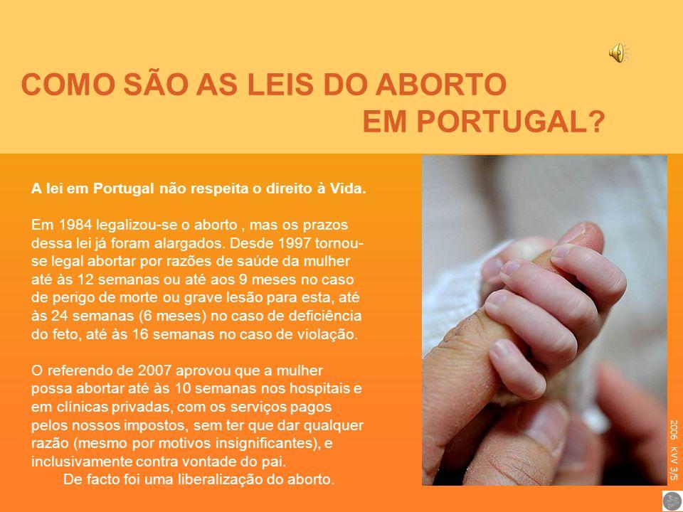 COMO SÃO AS LEIS DO ABORTO EM PORTUGAL? A lei em Portugal não respeita o direito à Vida. Em 1984 legalizou-se o aborto, mas os prazos dessa lei já for