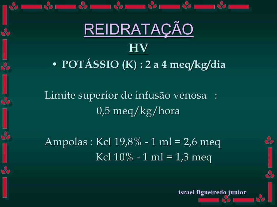 REIDRATAÇÃO HV POTÁSSIO (K) : 2 a 4 meq/kg/dia POTÁSSIO (K) : 2 a 4 meq/kg/dia Limite superior de infusão venosa : 0,5 meq/kg/hora Ampolas : Kcl 19,8% - 1 ml = 2,6 meq Kcl 10% - 1 ml = 1,3 meq Kcl 10% - 1 ml = 1,3 meq israel figueiredo junior