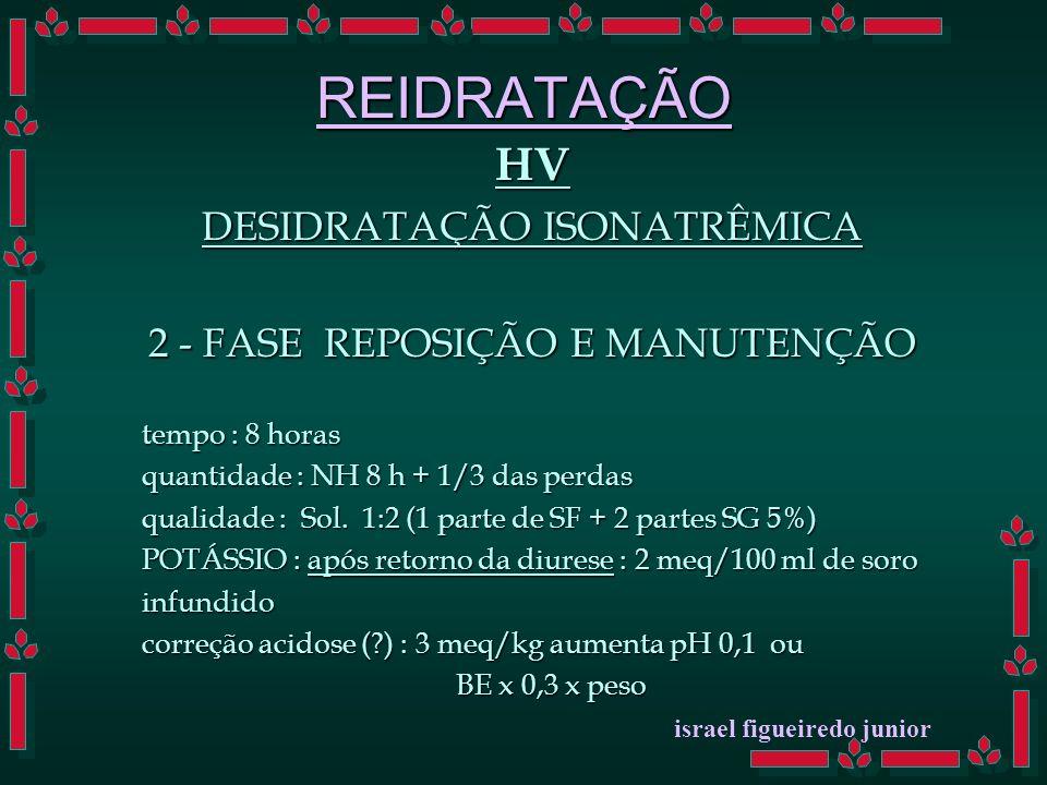 REIDRATAÇÃO HV DESIDRATAÇÃO ISONATRÊMICA 2 - FASE REPOSIÇÃO E MANUTENÇÃO tempo : 8 horas quantidade : NH 8 h + 1/3 das perdas qualidade : Sol.