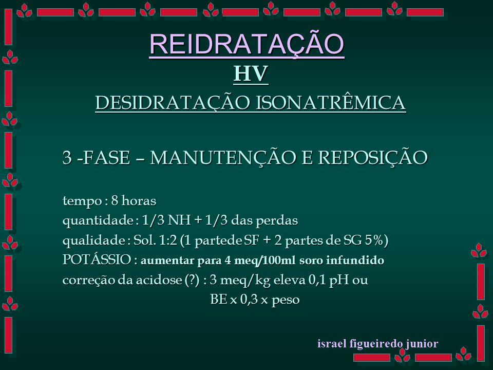 REIDRATAÇÃO HV DESIDRATAÇÃO ISONATRÊMICA 3 -FASE – MANUTENÇÃO E REPOSIÇÃO tempo : 8 horas quantidade : 1/3 NH + 1/3 das perdas qualidade : Sol.