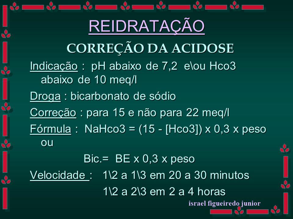 REIDRATAÇÃO CORREÇÃO DA ACIDOSE Indicação : pH abaixo de 7,2 e\ou Hco3 abaixo de 10 meq/l Droga : bicarbonato de sódio Correção : para 15 e não para 22 meq/l Fórmula : NaHco3 = (15 - [Hco3]) x 0,3 x peso ou Bic.= BE x 0,3 x peso Bic.= BE x 0,3 x peso Velocidade : 1\2 a 1\3 em 20 a 30 minutos 1\2 a 2\3 em 2 a 4 horas 1\2 a 2\3 em 2 a 4 horas israel figueiredo junior