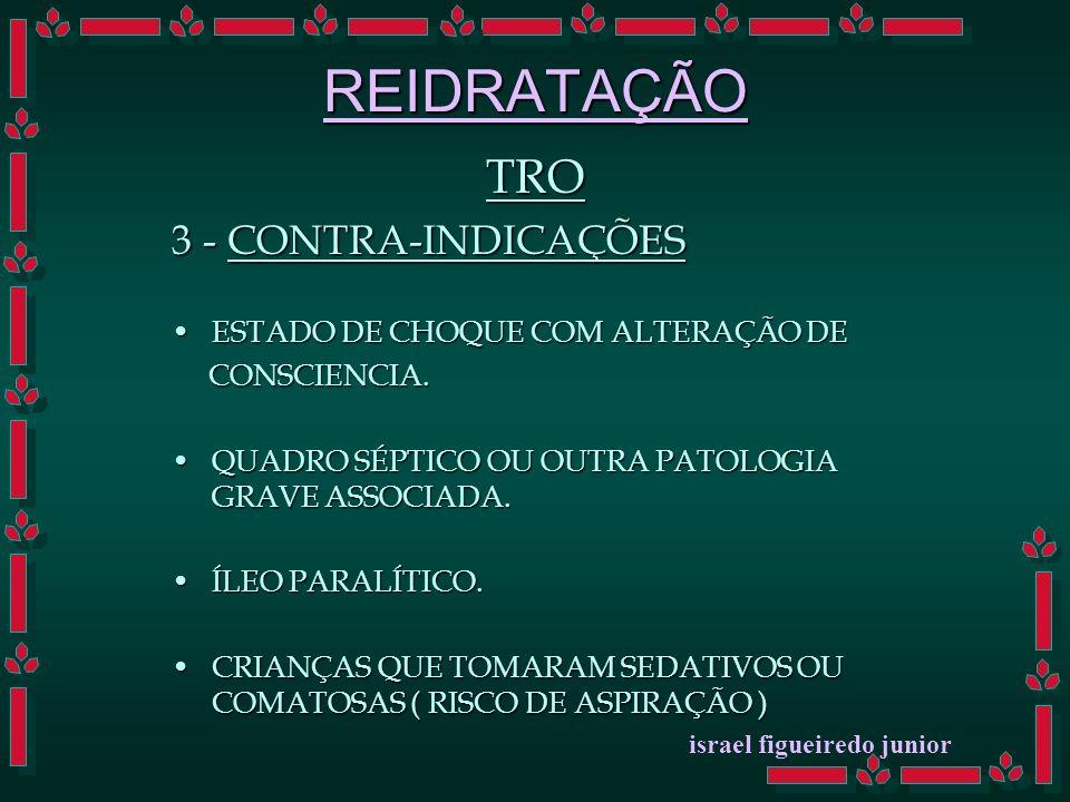REIDRATAÇÃO TRO 3 - CONTRA-INDICAÇÕES ESTADO DE CHOQUE COM ALTERAÇÃO DEESTADO DE CHOQUE COM ALTERAÇÃO DE CONSCIENCIA.
