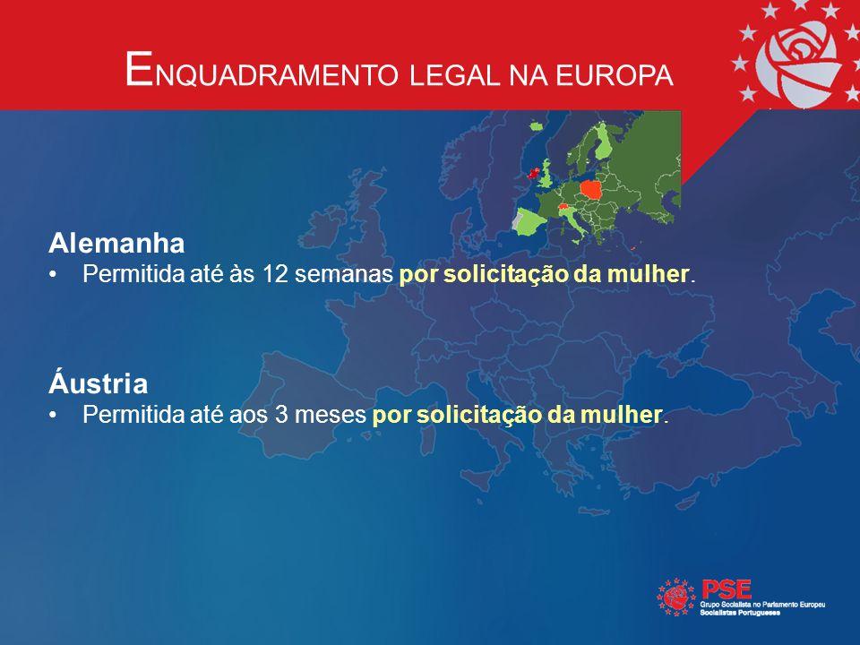 E NQUADRAMENTO LEGAL NA EUROPA Alemanha Permitida até às 12 semanas por solicitação da mulher.