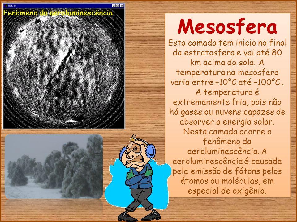 Termosfera Camada superior da Atmosfera, sem limite definido e está localizada acima da mesosfera.