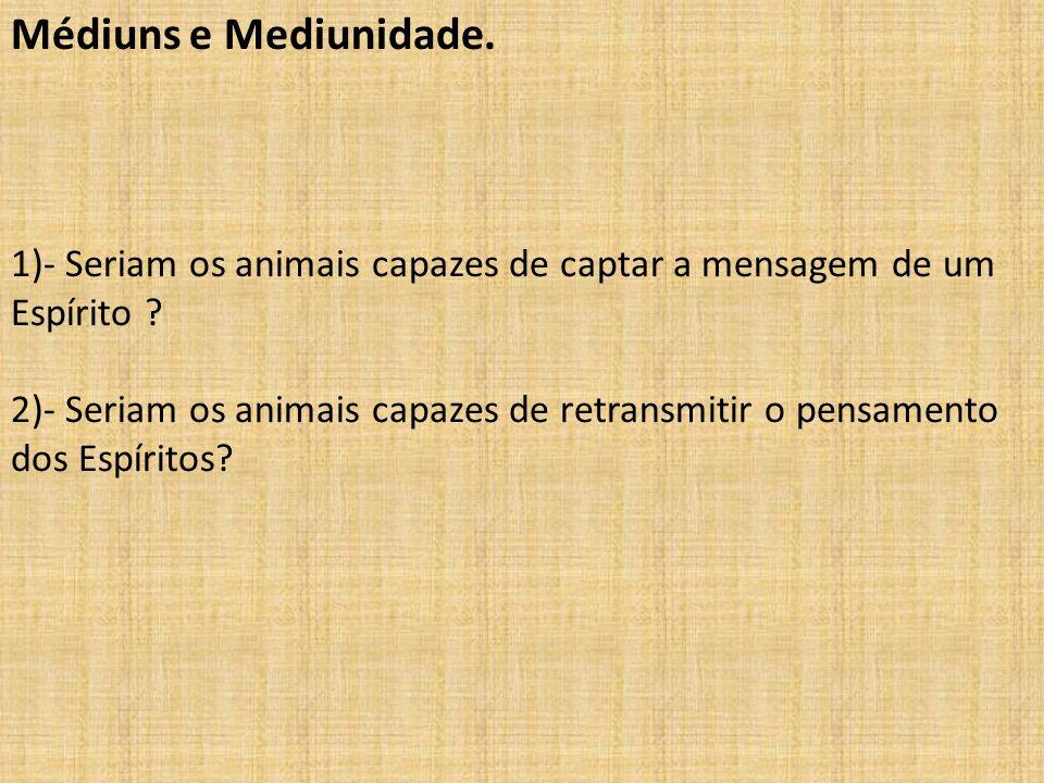 Médiuns e Mediunidade. 1)- Seriam os animais capazes de captar a mensagem de um Espírito ? 2)- Seriam os animais capazes de retransmitir o pensamento